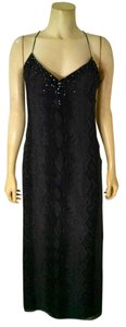 Laundry By Shelli Segal Silk Size 4 Long Full Length P1378 Sleeveless Beaded Sequins Dress