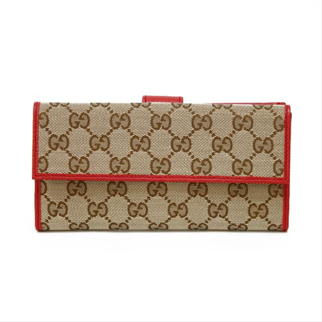 Item - Beige / Red Color / White Long Gg Pattern Canvas Women's Men's Wallet