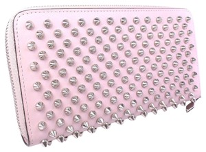 Christian Louboutin Christian Louboutin Round Zipper Spike Studs 3175212 Leather Pink Beige Unisex Long Wallet