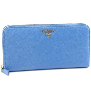Prada PRADA Prada round fastener Saffiano 1ML506 leather light blue unisex long wallet