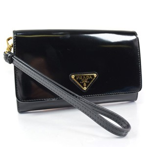 Prada PRADA Prada 1M1438 Patent Leather NERO Black Unisex Bi-fold Wallet