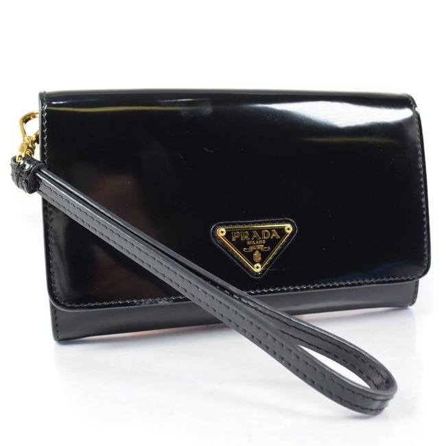 Item - Black / Nero 1m1438 Patent Leather Unisex Bi-fold Wallet