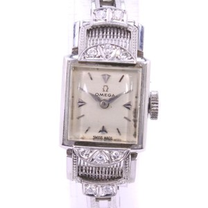 Omega OMEGA Bezel Diamond Cal 482 Pt Platinum Stainless Steel Hand-Winding Ladies Watch