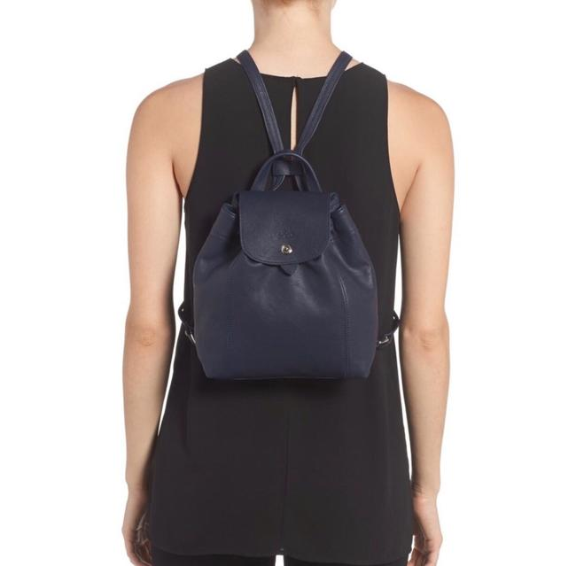 Cuir Le Pliage Mini Navy Lambskin Leather Backpack