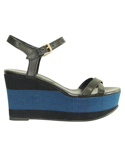 Item - Blue Checked Fabric Wedges Size EU 36.5 (Approx. US 6.5) Regular (M, B)