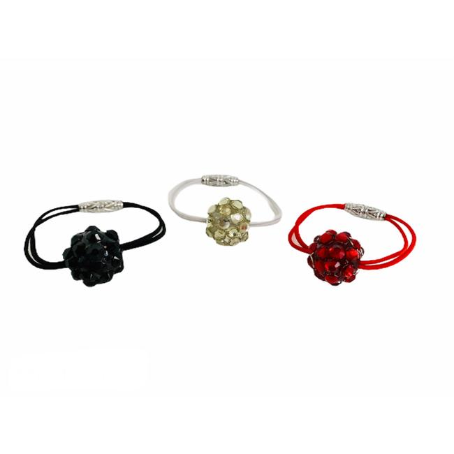 Item - Black White Red Set Of 3 Blingy Ball Ponytail Holders Hair Accessory