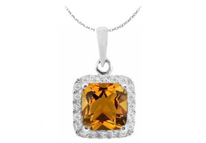 LoveBrightJewelry Orange Sterling Silver Pendant with Square Citrine and Round White Cz November Birthstone Necklace