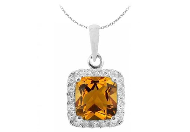 Item - Orange Sterling Silver Pendant with Square Citrine and Round White Cz November Birthstone Necklace