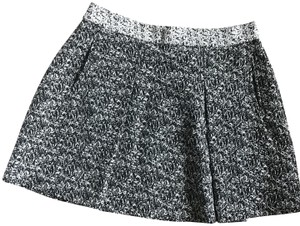 Banana Republic A-line Pleated Synched Tweed Skirt Grey and Black