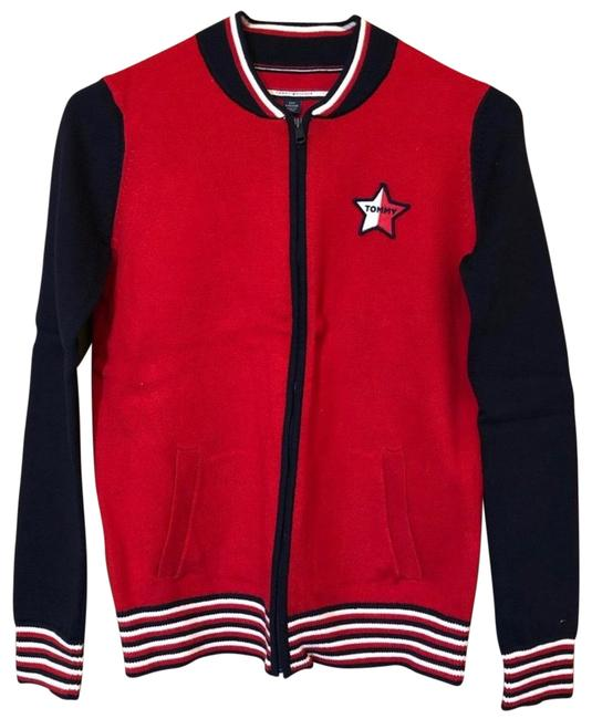 Item - Star Logo and Navy Cardigan Red Sweater