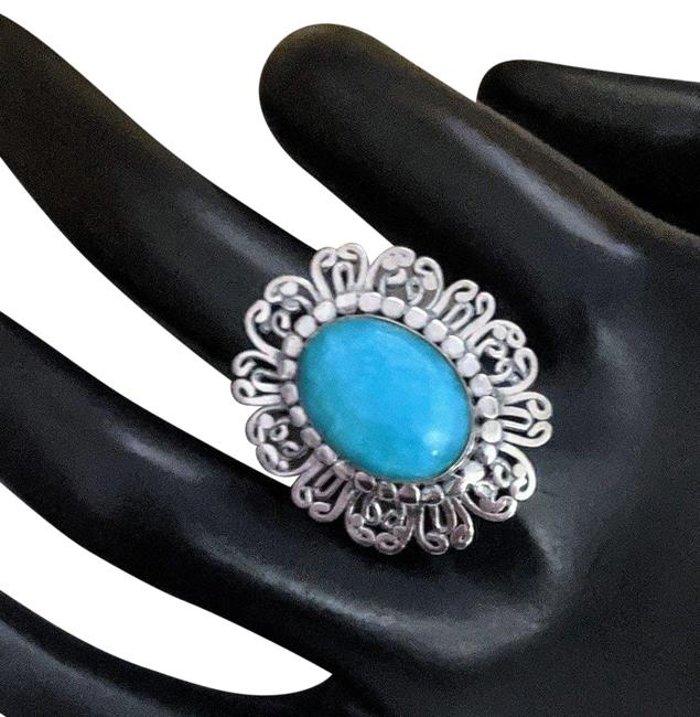 Handmade Turquoise Sterling Silver Gem Silica Filigree Ring Handmade Turquoise Sterling Silver Gem Silica Filigree Ring Image 1
