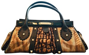 Cromia Satchel in goldfish and chocolate
