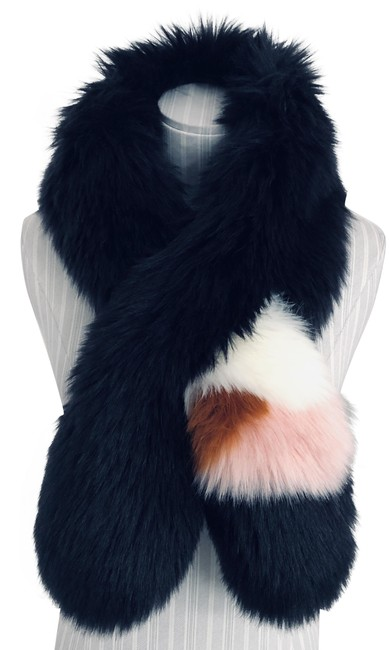 Item - Charcoal Pink White Rust Soft Faux Fur Wrap/Scarf Style#417060 Scarf/Wrap