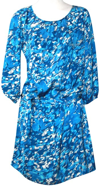 Item - Blue Shades Of Wrap Small Mid-length Short Casual Dress Size 4 (S)
