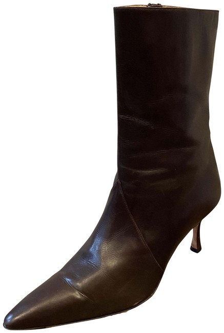 Item - Brown Calfskin Leather Point-toe Ankle Boots/Booties Size US 9 Regular (M, B)