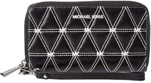Michael Kors Large Leather Phone Case 192877522317 Wristlet in Black