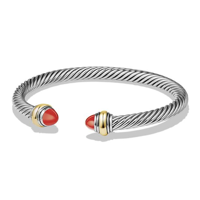 Item - Red Silver Cable Classic with Carnelian & 14k Yg Bracelet