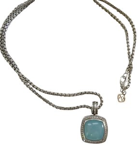 "David Yurman Albion 14mm Blue Chalcedony/Diamond Enhancer; 22"" 2.7 Baby Box Chain"