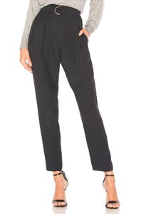 Joie Trouser Pleated High Waisted Ankle Straight Pants Caviar
