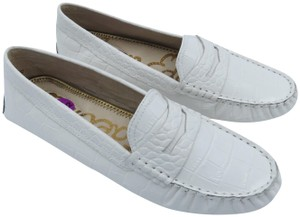 Sam Edelman Leather Crocodile Loafer White Flats
