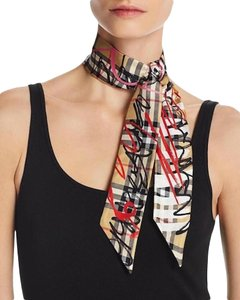 Burberry Brand New Scribble Check Silk Twill Slim Reversible Scarf Beige
