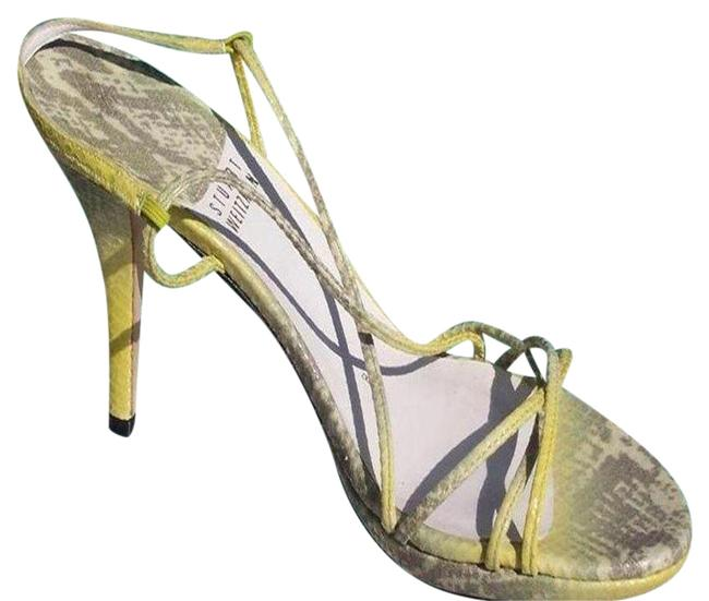 Item - Yellow Green Lizard Leather New Strapy Sexy Event Sandals Size US 8 Regular (M, B)