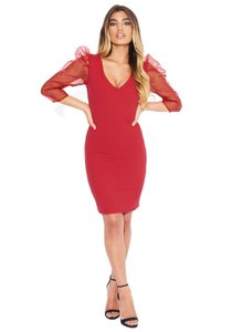 bebe V-neck Fitted Stretchy Organza Puff Sleeve Dress
