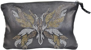 Zadig & Voltaire Leather Studded Pouch Black Clutch