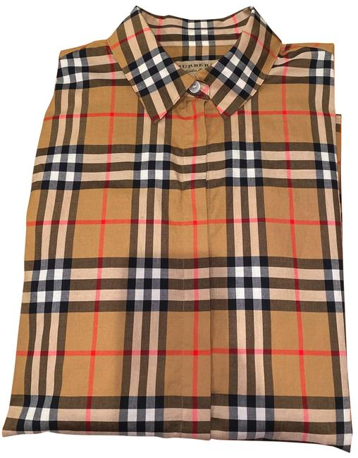 Item - Beige /Black /Red Check Shirt Button-down Top Size 2 (XS)