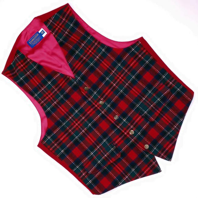 Item - Multicolor Checked Wool Mens Red Green Size Usa Meta Vest
