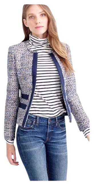 Item - Blue White and Gold Metallic Tweed Jacket with Grosgrain Trim Blazer Size Petite 2 (XS)