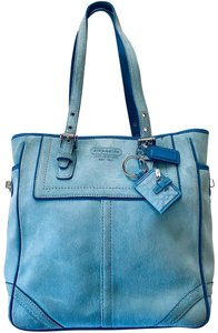 Coach 1941 Suede Leather Tote in baby blue