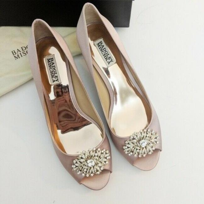 Item - Pink Layla Embellished Peep Toe Heel Blush Satin Pumps Size US 6 Regular (M, B)