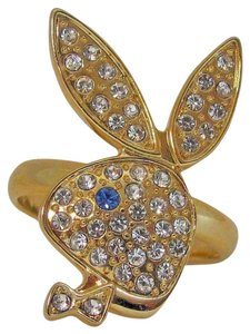 Playboy Playboy Ring Bunny Swarovski Crystal Gold Adjustable Size 5.5 +