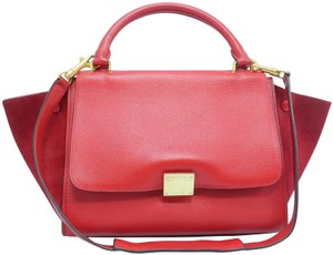 Céline Trapeze Small Calfskin Satchel in RED