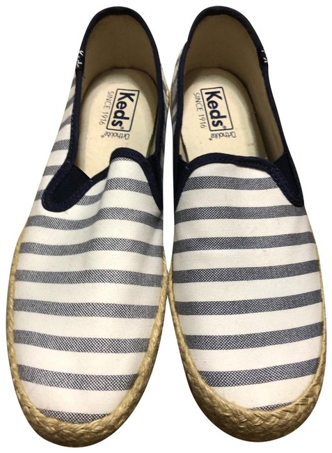 Item - White with Navy Stripes Espadrille Flats Size US 8.5 Regular (M, B)