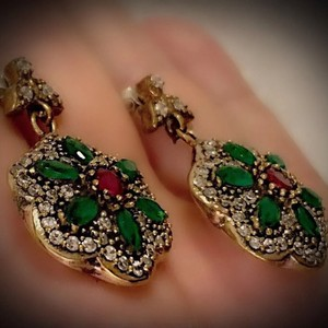 Green/Red Sale Pigeon Blood Ruby Emerald Solid 925 Sterling Silver/Gold Wow Brilliant Facet Round/Marquise Cut Gems Earrings