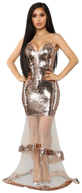 Item - Rose Gold Mermaid Dipped In Long Night Out Dress Size 6 (S)