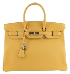 Hermes Leather Tote in Jaune (Yellow)