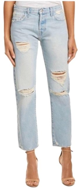 Item - Blue Light Wash Distressed Straight Leg Jeans Size 2 (XS, 26)