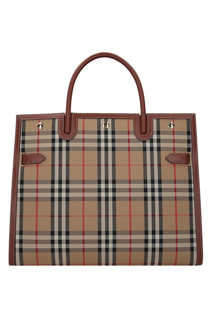 Item - Large Check Beige Cotton Tote