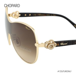 Chopard Brown & Gold Jeweled Shield Mask Sunglasses Happy Diamonds Sch C25s