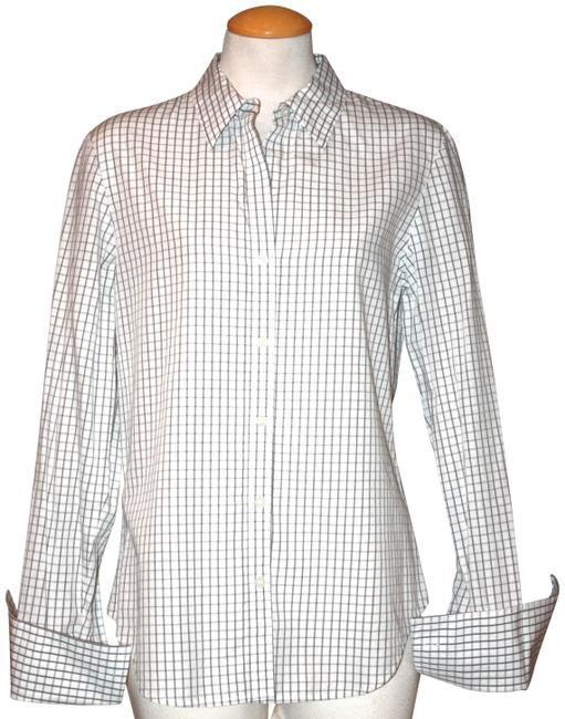 Item - White Checkered Button-down Top Size 8 (M)