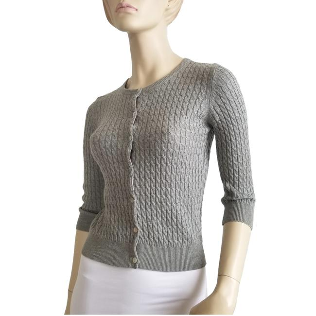 Item - Grey Silk and Cashmere Blend Cardigan Size 4 (S)
