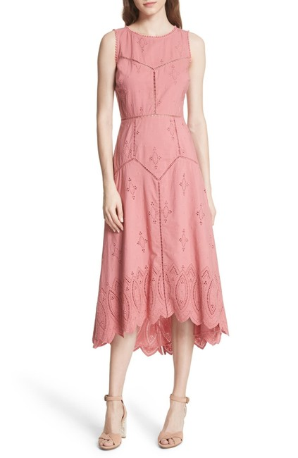 Item - Pink Halone High/Low Eyelet Mid-length Casual Maxi Dress Size 4 (S)
