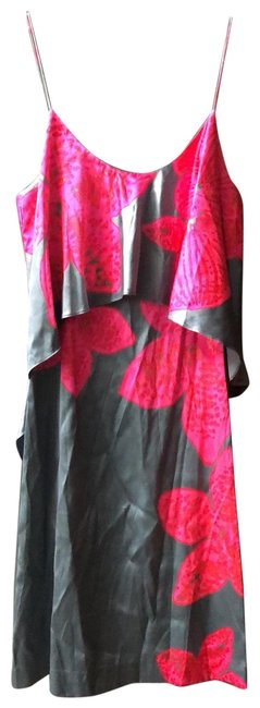 Item - Charcoal Grey and Hot Pink Short Cocktail Dress Size 2 (XS)