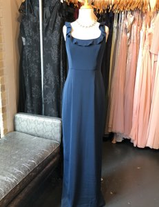 Watters Navy Blue Stretch Crepe Oliver (6803) Feminine Bridesmaid/Mob Dress Size 10 (M)