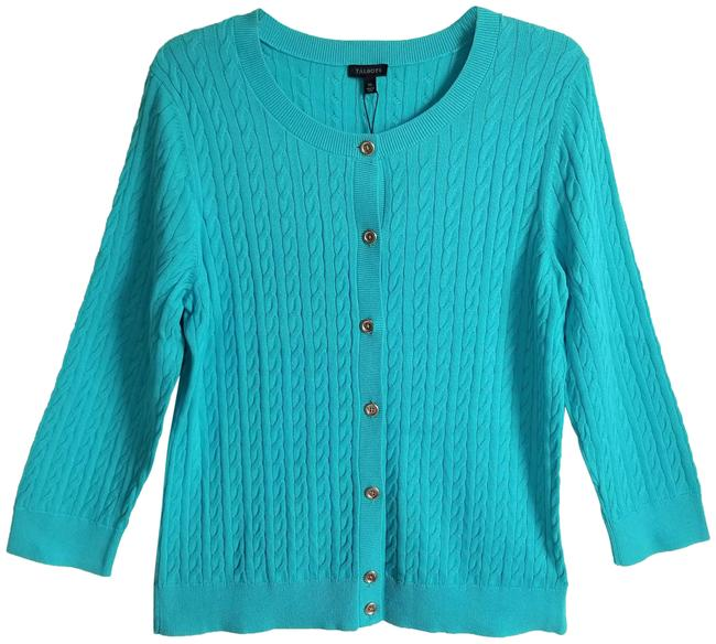 Item - Turquoise Cable Knit Cardigan Size 16 (XL, Plus 0x)