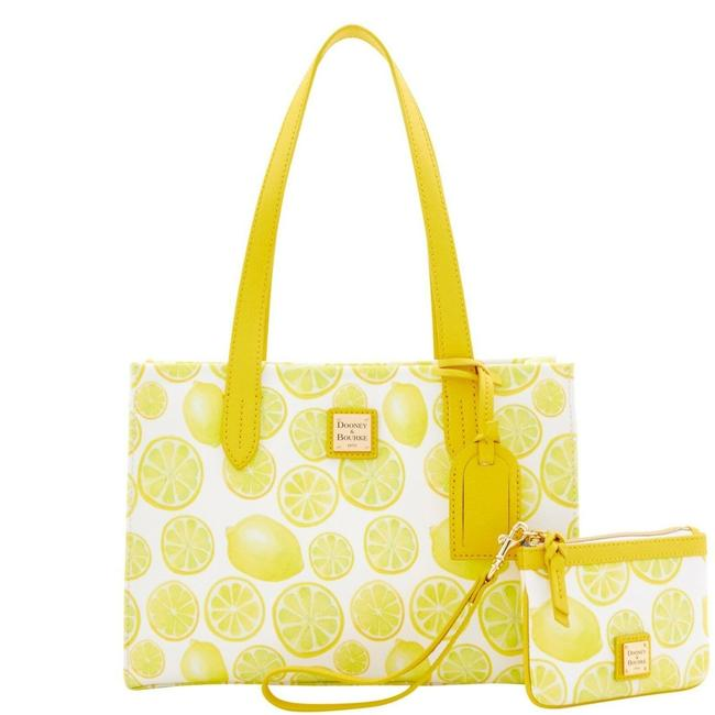 Item - Limone Small Shopper Medium Wristlet White/Yellow Coated Canvas Tote