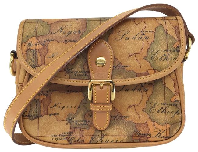 Item - Camel/ 1a Classe Global Map Printed Canvas/Leather Camel/Olive Coated Canvas Cross Body Bag